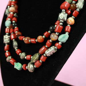 Sienna and Teal Multi Chain Beaded Necklace